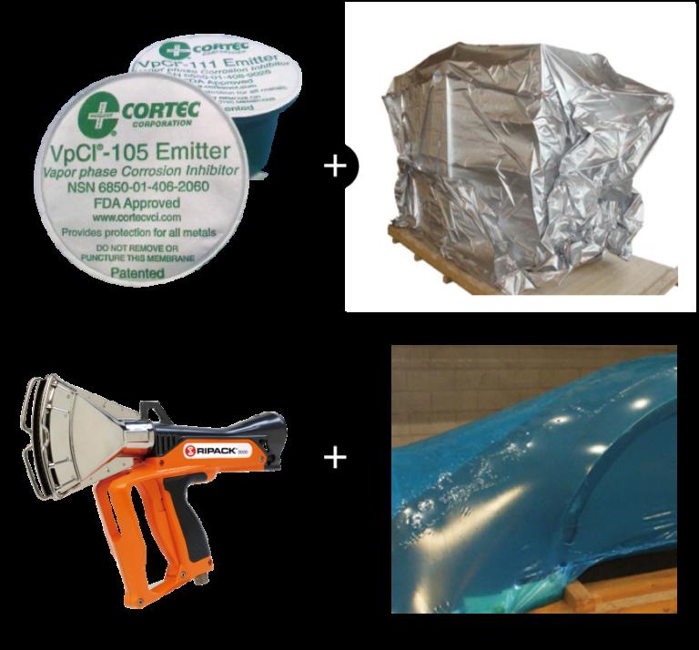 防錆対策 エミッタ―+バリア包装 防錆シュリンク梱包