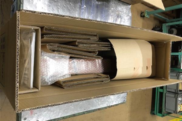 エア緩衝材導入による梱包の簡易化